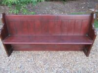 ORIGINAL OLD PINE CHURCH PEW. Delivery possible . MORE BENCHES AVAILABLE , ALSO TABLE & CHAIRS.