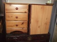 Bedside tables x 2 three draws pine effect