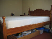 Pine King Size Bed with Deep Tempur Mattress