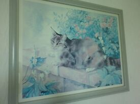 CAT SITTING ON A WALL PAINTING IN FRAME