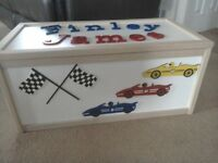 Large wooden Racing Cars toy box. L71cm, W36, H32. Lid will have name of your choice.