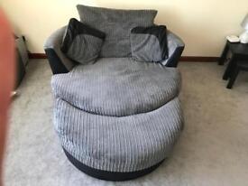Ex dfs grey sofa and cuddle chair