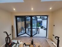 SWISS AlUMINIUM BIFOLD DOORS IN 3 PANEL INC GLAZED 3000mm X 2100mm - £ 1580 INC VAT