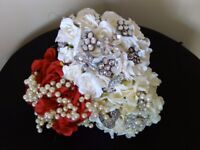 Bouquet. x 3 Brooch Bouquets in silk roses plus 19 wired brooches