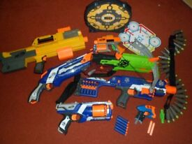 Nerf Guns, assortment with bullets and accessories