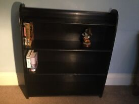 Solid Oak Retro/Vintage Black Bookcase2 FixedShelvesCurved Edge H35.5in/89cmD8.5in/21cmWi30.5in/77cm