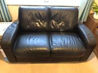 Free Brown leather 2-seater sofa - collection only