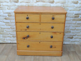 Antique Victorian Wooden chest of drawers dark handles (Delivery)