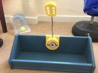 Bed shelf and despicable me lamp