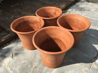 Yorkshire terracotta flower pots, frost-proof. 4 x Medium Size