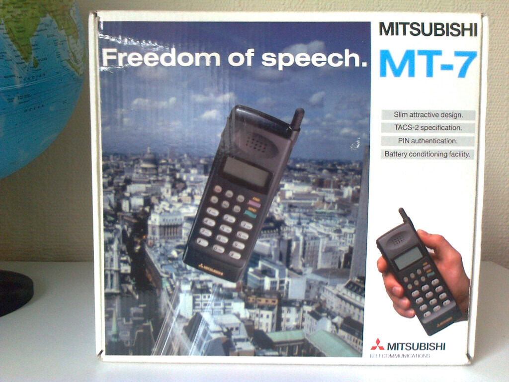 """VintageAnalogue MITSUBISHI MT7 Mobile Phonein Bradford, West YorkshireGumtree - For sale is an extremely rare boxed Analogue ETACS """"MITSUBISHI MT 7"""" handheld portable cellular mobile phone dating back to the early 90s (1993). This analogue mobile phone is an extremely rare vintage collectable item due to it being complete in..."""