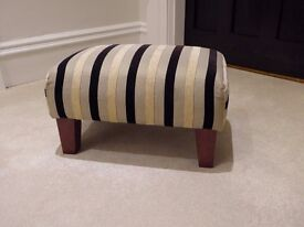 Foot stool - upholstered, black & cream strip - Excellent Condition