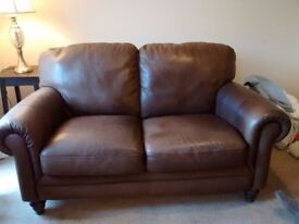 2 Lenley's brown leather sofa's in good condition