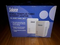 Solwise HomePlug Ethernet Adaptor - twin pack