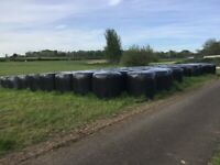 Round bales of chopped silage and round bales of haylage