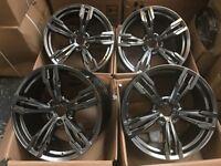 20 inch 5x120 Staggered Hyper Black Dark Grey Chrome Alloy Wheels Rims fits: BMW X5 E70 BMW X6 E71