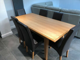 Oak Veneer Dining Table and 6 Faux Brown Leather Chairs