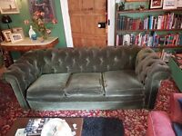 Sage green vintage Chesterfield style 3 seater sofa. potential refurb project.