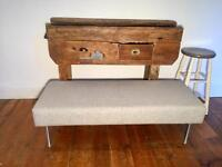 Industrial recycled Bench seat footstool