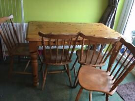 Dining Room Table and four chairs - in need of doing up