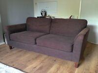 Sofa Workshop Brown Three Seater Sofa. Great Condition. No damage. Smoke & Pet Free Home