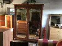 SOLID OAK FULL MIRRORED HANGING AND SHELVING WARDROBE