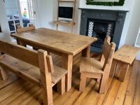 Indigo solid wood dining table, benches & chairs