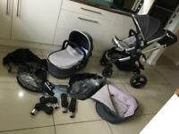 I candy peach 3 Truffle2 single stroller leather handles and warranty immaculate with boxes