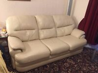 Stag cream leather settee