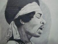 Hand drawn original artwork of Jimi Hendrix. Framed. 23 x 34. Glass front.