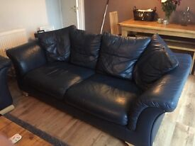 Blue leather sofas 3 seater and 2 seater