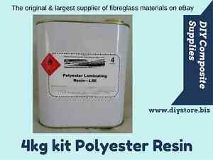 POLYESTER RESIN Kit for Fibreglass 4 kg (inc. Hardener) -FREIGHT PER DESCRIPTION