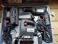 Electric Drill, Jig Saw and Sander set in Carry Case. B & Q Pro Performance model