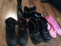 4x Shoes size 4- Kickers, Converse, jelly sandal and wellys