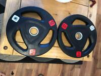 2x 15kg ziva rubber coated olympic weights