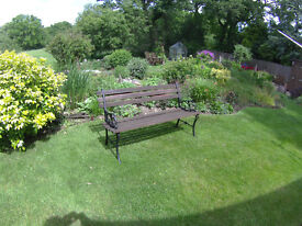 2 seater garden bench - wood with wrought iron ends