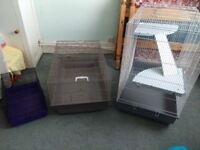 1 large rat cage, 1 small rat cage, a travel cage and accessories