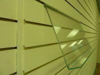 Large slanted acrylic slatwall racking, 600mm wide