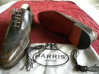 Harris Collection, Su Misura Fatte a Mano Italian shoes, Brown/Grey, smart leather shoes. Size 6