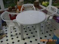 Patio Table + 3 Chairs White Plastic Bristol (Oldland Common)