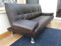 Black leather sofa couch bed