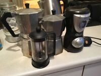 Coffee pots and grinder