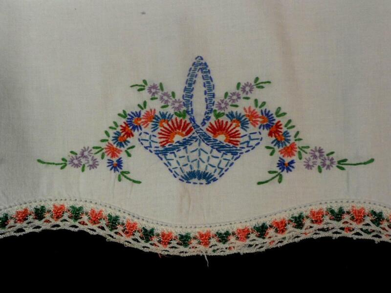 SINGLE VINTAGE WHT COT PILLOW CASES HAND EMBROIDERED FLOWER BASKET, BRAID TRIM