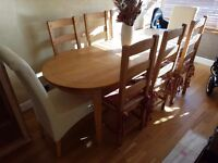 Solid beech dining table for 8