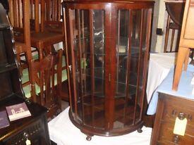 FOR SALE Wonderful 50's Era Walnut Half Moon Mirror Back Cabinet Curio Display