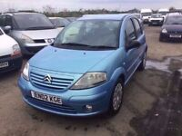 2002 CITREON C3IN VGCONDITION LOVELY DRIVER RARE 5 DOOR HATCH IN LOVELY METTALLIC BLUE ANY TRIAL