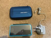 Nintendo 2DS XL Black/Turquoise with carry case and screen protector - mint condition
