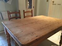 Pine dining table and4 chairs