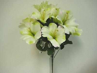 GREEN PINK Hibiscus Bush Artificial Silk Flowers 18