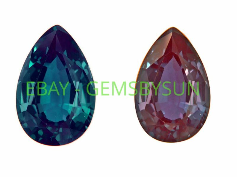 Lab-Created Pulled Alexandrite True Color Change Pear Loose Stone(4x2 - 30x20mm)